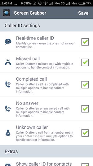 Caller ID feature on Screen Grabber