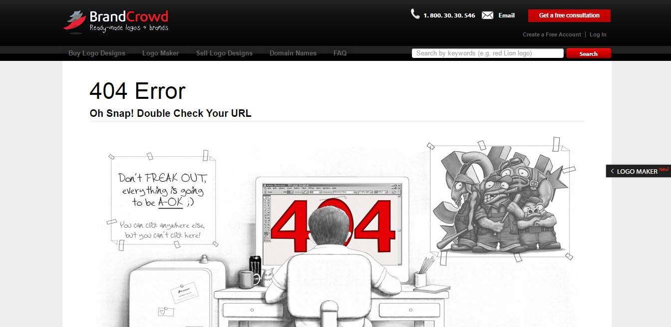 BrandCrowd 404 Issue Page