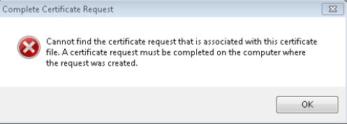 Cannot find certificate request associated with this certificate file