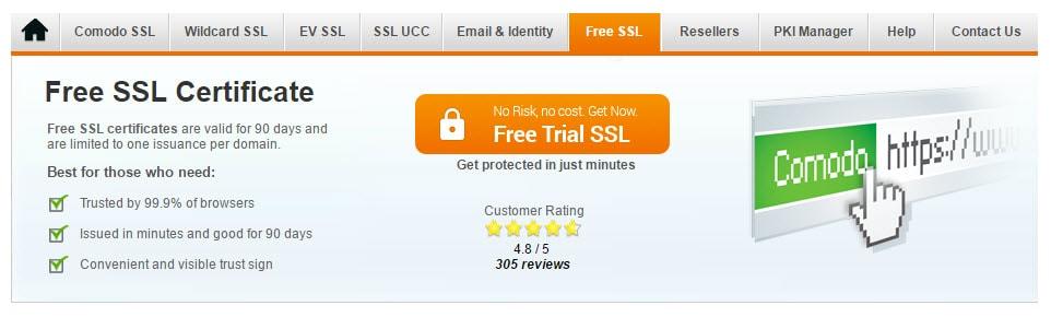 Comodo Free Trial SSL