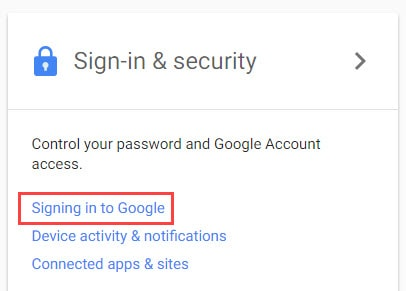 Signing in to Google in Gmail Password Reset