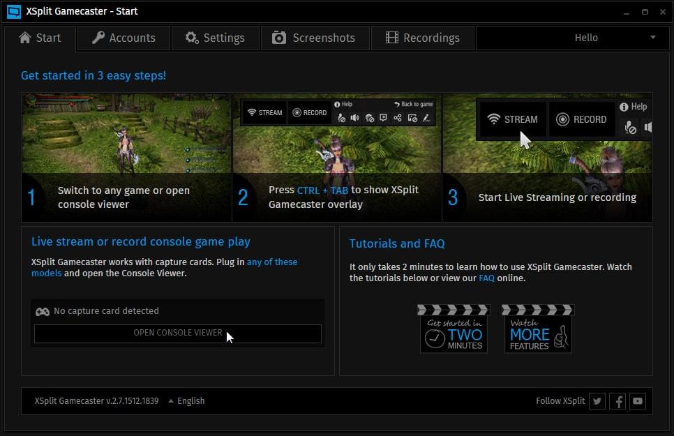 XSplit Gamecaster Program for Recording Game Screen
