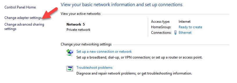 Change Adapter Settings to Move to another DNS Server