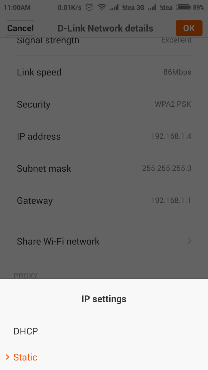 DHCP or Static on Android Wifi Settings