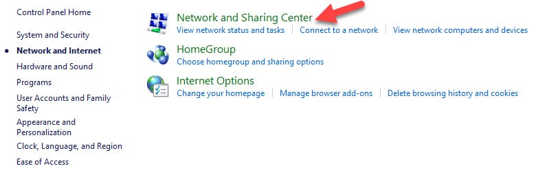 Network and Sharing Center in Network and Internet