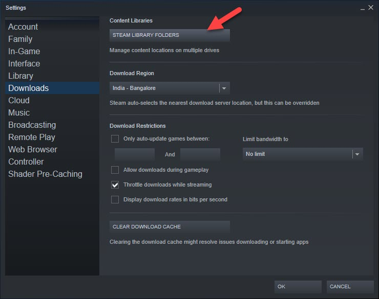 Steam Library Folders Button